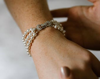 Pearl Bridal Bracelet Three Strand Bridal Cuff Bracelet Wedding Bracelet Swarovski Pearl and Crystal Bridal Bracelet Bridal Jewelry