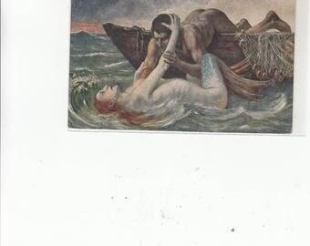 C 1910 Antique Postcard Mermaid Seducing Man In Boat-Unused