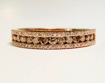 0.75CT Chocolate Diamond Wedding Band Anniversary Ring Art Deco Bands 1/2 Eternity Stackable Rings Platinum 18K 14K White Yellow Rose Gold