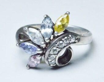 Vintage Sterling Silver Multi-Gemstone Band Rings Size 6.5