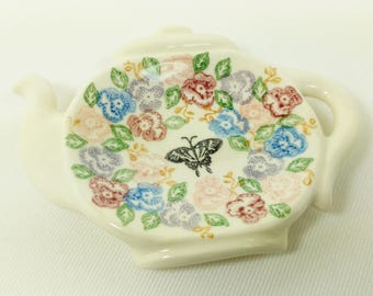 Tea Bag Holder - Teapot Shape - Ceramic - Hand Stamped Underglaze Design in Pansy Flowers- Tiny Dish - Spoon Rest Dish - Ready to Ship