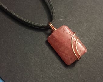 Copper Wrapped Rhodochrosite Necklace