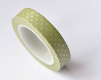 Skinny Green Washi Tape White Polka Dots Masking Tape 10mm x 10M Roll No.12695