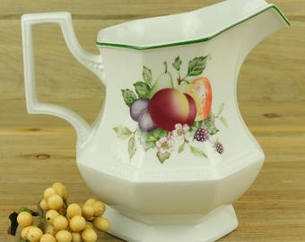 Johnson Brothers Fresh Fruit Pattern China Pitcher Made in England, China Pitcher, Replacement China, Vase, Water Pitcher, Flower Vases 18-1