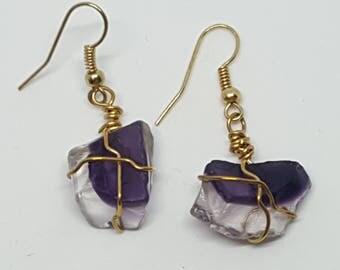 Purple Broken Glass Earring