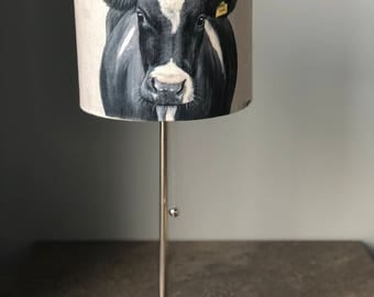Friesian cow with ear tag 30cm diameter lampshade