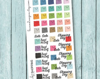 Shopping Stickers, Shopping Bag Icons, Girl's Day, Holiday Shopping, Treat Yourself, Icon Planner Stickers