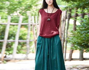 2017 new summer cotton and linen skirts – Artistic retro cotton and linen middle long skirt