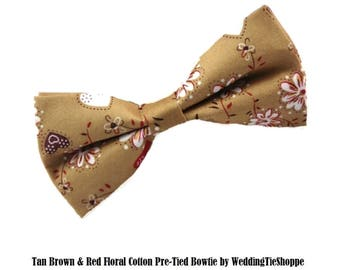 Tan Brown Red Paisley Floral Bowtie Wedding Bow Tie Cotton Pre-Tied Groomsmen Bow Ties Groomsman Bowtie Best Man Bowties Usher Bow Tie
