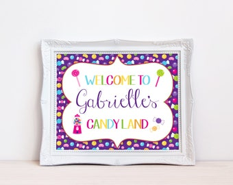 Printable Candy Themed Welcome Sign, Birthday Sign, Candy Land Sign, Welcome to Candy Land, Girls Birthday Party, Candy Bday, Digital, MB296