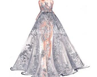 Princess art,  Fashion illustration, Fashion art, Fashion wall art, Fashion sketch, Princess drawing, Silver art,Princess painting
