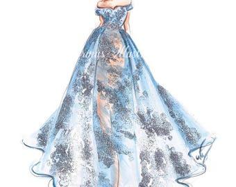 Pastel blue art,  Fashion illustration, Fashion art, Fashion wall art, Fashion sketch, Princess painting, Silver art, Nursery art