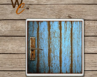 Drink Coaster, Blue Wood Pattern, Old Wooden Distressed Door Handmade Design, Ceramic Tiles, Beer Coaster, Coffee Coaster, Made to Order