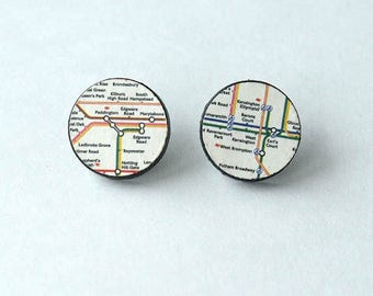 london underground earrings, london underground earrings map, LONDON UNDERGROUND, sterling silver post and butterfly