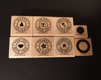Stampin' Up! Partial Set of Riveting Total of 8 Rubber Wood Mounted Stamp Used Card Scrapbooking