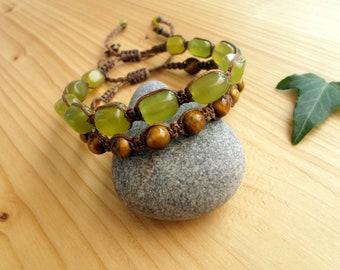 Jade macrame bracelet, macrame jewelry, tigers eye bracelet, bohemian jewelry, shamballa bracelet, macrame stone, gemstone bracelet