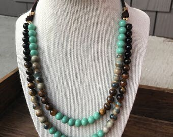 Jade Green and Brown Beaded Multi-Strand Necklace with Brown Suede Chain