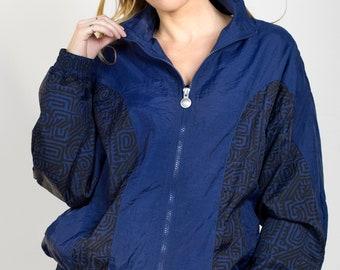 Vintage Reebok 1980s Windbreaker Jacket Nylon Zip Up Collared Elastic Navy Blue Black Print Lined Spring Women's Size Small/Medium