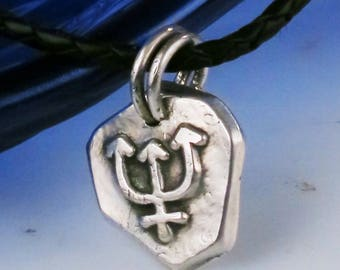Trident Nautical Seeker of Truth Fine Silver Mariner Pendant - Poseidon - King Neptunes Staff - Seeker of Truth - Pendant Gift for a Sailor