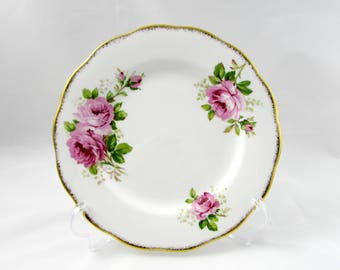 Royal Albert American Beauty Luncheon Plate, Salad Plate, 8 Inches, Vintage Bone China