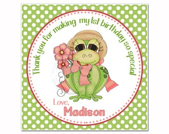 """Frog Customized Girl Birthday Printable Tag- 2.5""""- Square Tag-Miss Frog with Bow & Flowers-Personalized Girls Tags-Digital file-YOU PRINT"""