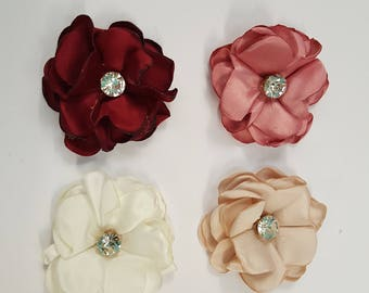 10 Luxury Fabric Flowers with Diamante Crystal Centres