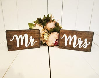 Mr And Mrs Wood Signs, Sweetheart Table Sign, Head Table Sign, Bride And