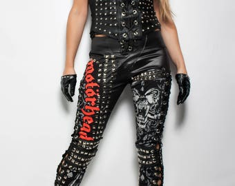 Judas Christ Motorhead studded faux leather lace up corset tie pants / rock metal clothing