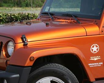 "Jeep Wrangler 5"" Oscar Mike Army Star Decal 3M Matte Black"