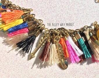 Tiny Tassel Bracelet,  Tassel Jewelry, Summer Jewelry, Boho Jewelry, Boho Bracelet, Colorful Bracelet, Layering Bracelet, Gifts under 50
