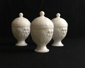 Vintage Avon | Milk Glass Covered Trinket Dish | Egg-Shaped | Pedestal | Circa 1960s | Set of Three