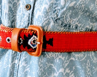 """Original Vintage 90s Belt Tan Leather Red Woven Fabric Hand Made in Guatemala Size Medium 36"""""""