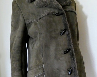 "Vintage Brown Sheepskin Jacket ""Baily's Of Glastonbury"" Shearling Coat Size 18"