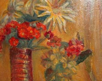 Vintage Impressionist still life oil painting flowers