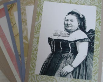 """Set of 4 blank cards with fancy borders,""""Tea for Two"""""""
