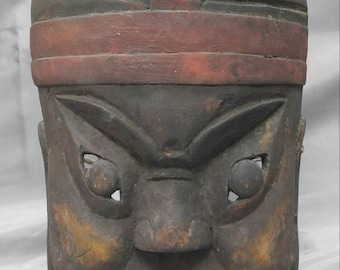 Antique old vintage hand carved hand painted wooden Asian mask Japan wood carving