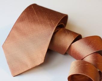Copper Neck Tie - Raw Silk Ties - Metallic Tie - Copper Wedding Neck Ties - Dark Rose Gold Tie - Groomsmen Ties - Copper Wedding - Rustic
