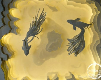 MIRROR-Light box-Shadow box-Regalo-Fatto a mano-Handmade-Wedding-Love-Regalo originale-Paper-arte-Papercutting-Paper cut art-Carp Coi-Fish