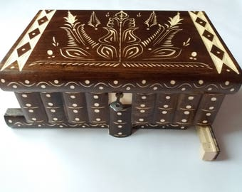 Huge puzzle box magic box jewelry box premium treasure gift new big box brown handmade secret case carved wooden storage box, brain teaser