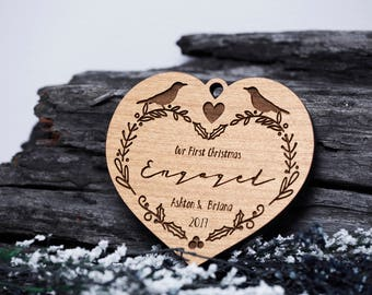 Our First Christmas as Mr. and Mrs. Ornament - Personalized Wood Ornament, Just Married, First Christmas Married, Wedding Gift,Marriage 513B