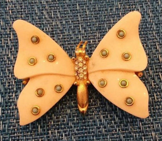 Stunning Lucite and Rhinestone Butterfly Pin