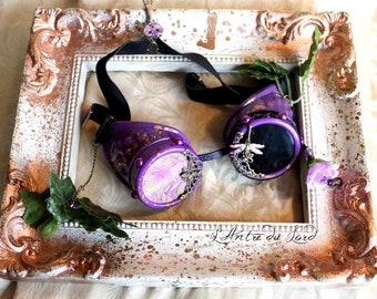 """Goggles steampunk féeriques violettes et feuilles vertes """"Forests Secrets"""""""