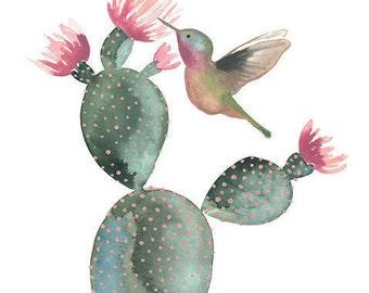 Hummingbird and Cactus