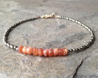 Sunstone with Tiny Pyrite Bracelet