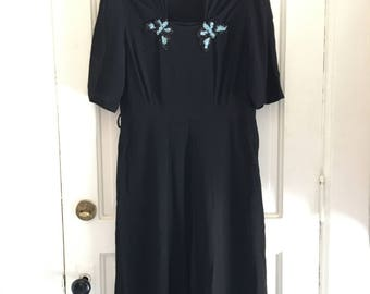 Vintage Early 1940s Crepe Rayon Day Dress - Black Rayon Dress - Butterfly Appliqué - Classic 1940s Silhouette - Crepe Rayon Dress