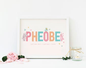 Baby Girl Personalised Name Zoo Print 8x10  |  Christening Gift | God Child Gift, Baby Keepsake |  Animal Nursery Print  | Framing available
