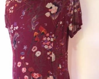 Vintage floral dress by Monsoon 90s burgandy floral dress
