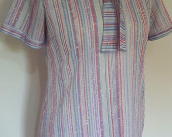 Vintage dress 70s blue lilac pink striped dress by Beech Tree with  tie neck size medium to large