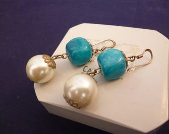 """Eye catching vintage statement large bead earrings - 925 - sterling silver - 2"""" drop - e"""