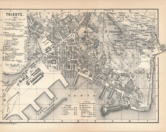 1873 Trieste Italy Antique Map